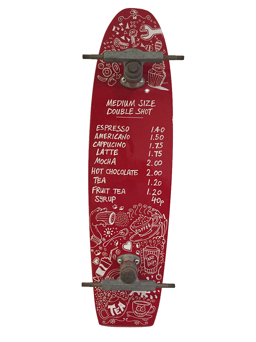Skateboard Coffee Menu